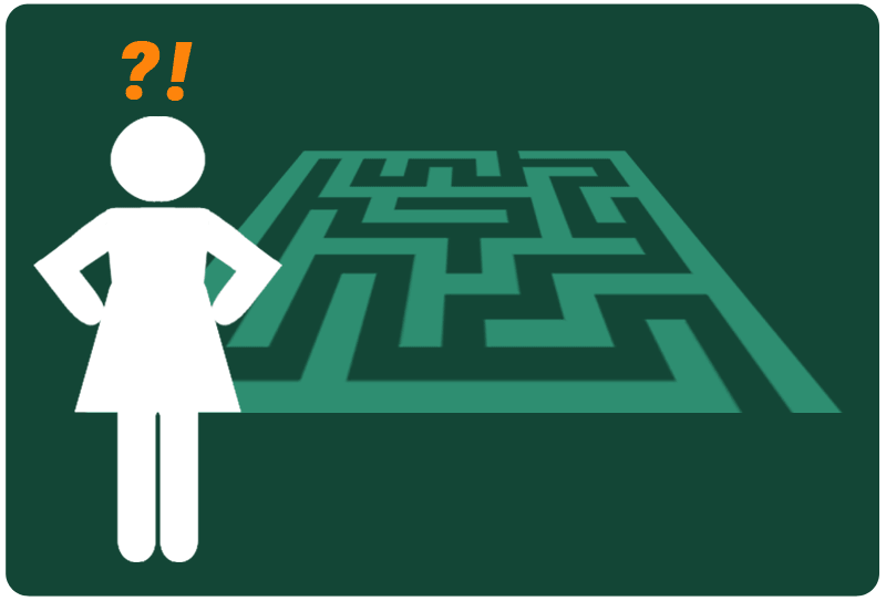 Image of a person looking at a maze