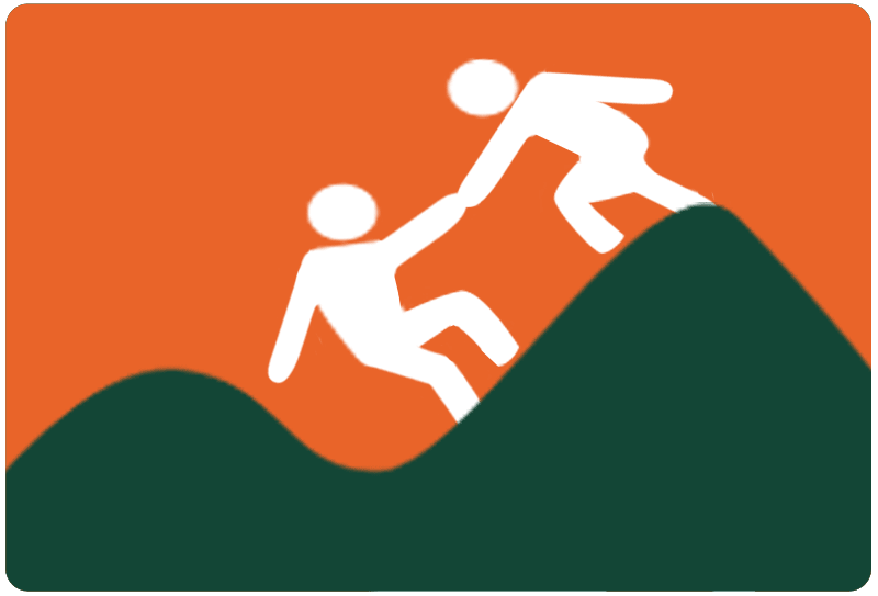 Image of a person helping another up a hill.